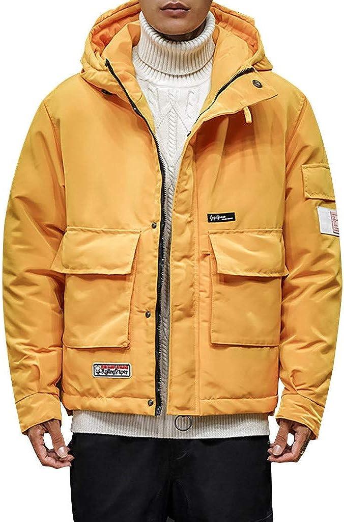 Stoota Men's Waterproof Hooded Rain Jacket, Casual Lightweight Packable Raincoat for Outdoor Camping Travel Yellow