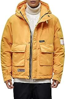 Beautyfine Down Alternative Coat Men's Winter Casual Pure Color Hooded Warm Cotton Clothing Jacket