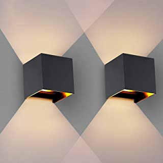 LED Wall Lights, 2 Pcs Modern Aluminium Wall Lamp with IP65 Waterproof Indoor/Outdoor 3000K, Warm White