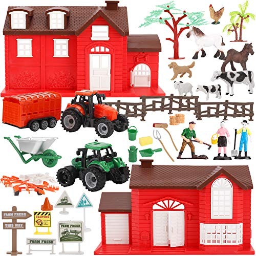 Liberty Imports Ultimate Ranch Farming Toy Kids Country Playset with Animals, Farmhouse, Tractors, Figures, Playmat and Accessories (48 Pieces)