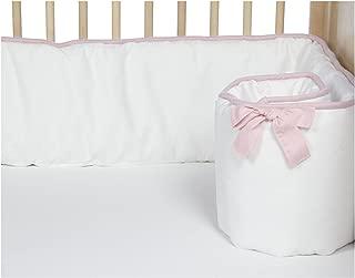 New Arrivals Stella Gray Crib Bumper-White & Pink