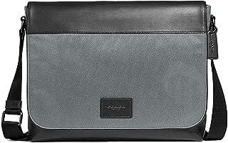 Mens Nylon and Leather Messenger Tote Bag - #F38741 - Black/Grey