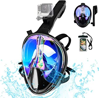 Full Face Snorkel Mask 180 View Snorkeling Mask for Adults Scuba Mask with Detachable Camera Mount Snorkeling Mask 180 Panoramic View Anti Fog Leak UV Dry Top Set with Adjustable Straps