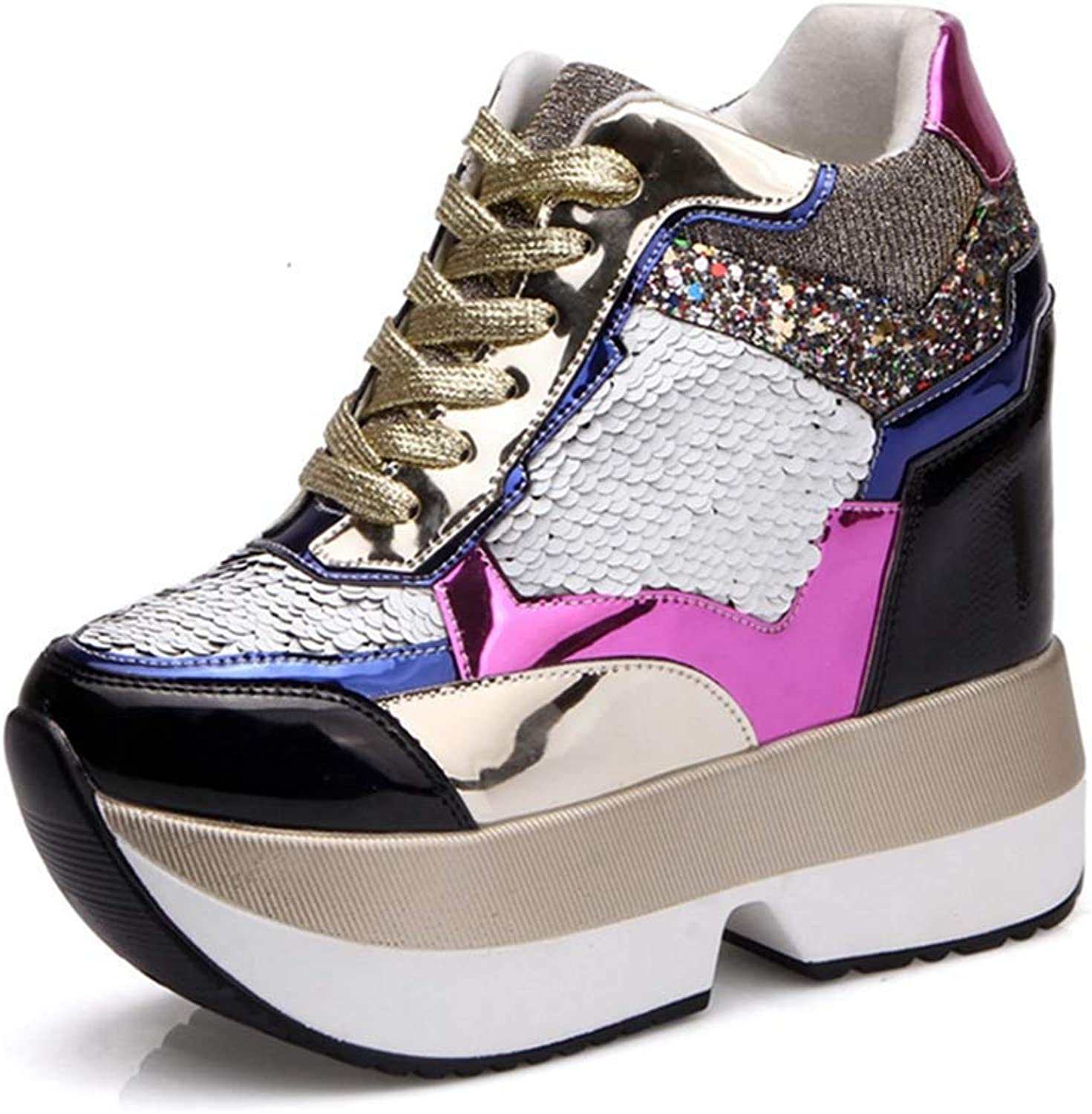 Wallhewb Women Spring Autumn High Heels Casual shoes Fashion Sequins Breathable Lace-up Platform Wedges shoes Elegant Fashionable Soft Beautiful Wear Resistant Joker gold 6 M US Casual shoes