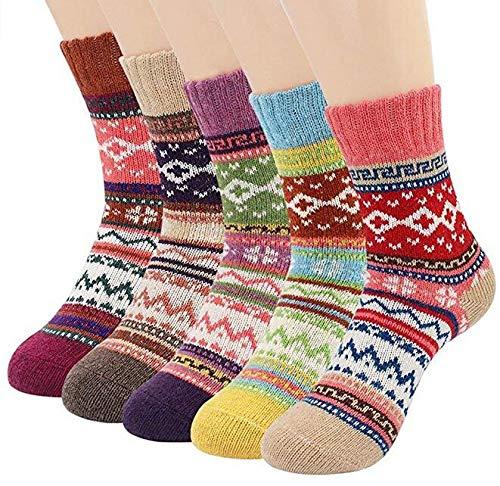 Aerobin 5 pares de calcetines de lana gruesos para mujer, estilo vintage, para invierno, cálidos, suaves, cálidos, cálidos, cálidos, para invierno, para mujer Dorado Cruz M