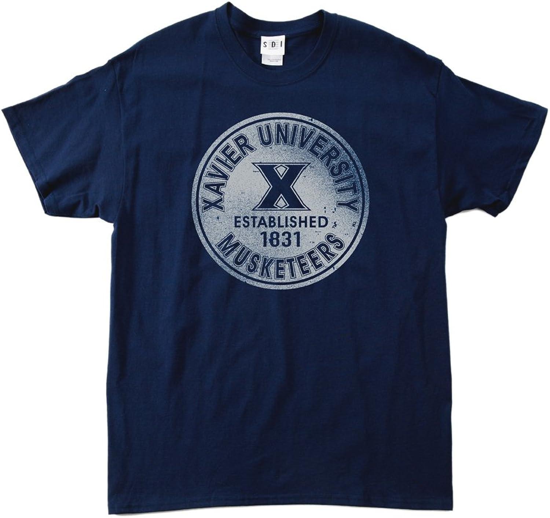 NCAA Xavier Musketeers 100Percent PreShrunk Vintage Circle Short Sleeve Tee