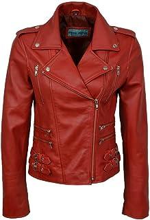 Women's Chic Retro Red Nappa Leather Short Biker Jacket