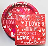 Red Valentine's Day Paper Plates & Napkins - Party Supplies for 18...