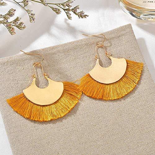 Oorbellen De Boheemse vrouwen Simple Mode kwast ventilator plaat geel lange persoonlijkheid overdreven creatieve geschenken Trend Catwalk Party Fotografie