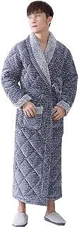 YONGYONG 男性のパジャマの冬の3層構造の厚いフランネルの長いパジャマ暖かいバスローブのホームロブ