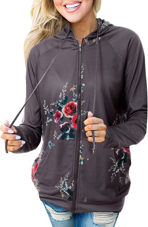 Aliling Women's Hooded Sweatshirt Floral Print Long Sleeve Zip Up Hoodie Jacket