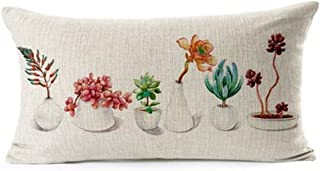 Fresh and Colorful Hand-Painted Potted Plants Succulents Cotton Linen Waist Lumbar Pillow Case Cushion Cover Personalized ...