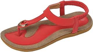 ALALEI Women Bohemian Glitter Summer Flat Sandals T Strap Prime Thong Shoes