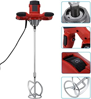 Electric Mortar Mixer Red 1500W Handheld Adjustable 6-speed Electric Mixer for Stirring Concretes Mortar Paint Cement Grout Plaster AC 110V