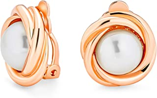 Twist Braided Rope Cable Round Bezel Set White Simulated Pearl Button Clip On Earrings For Women Rose Gold Silver Plated