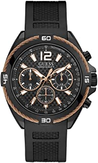 GUESS Mens Quartz Watch, Analog Display and Silicone Strap - W1168G3