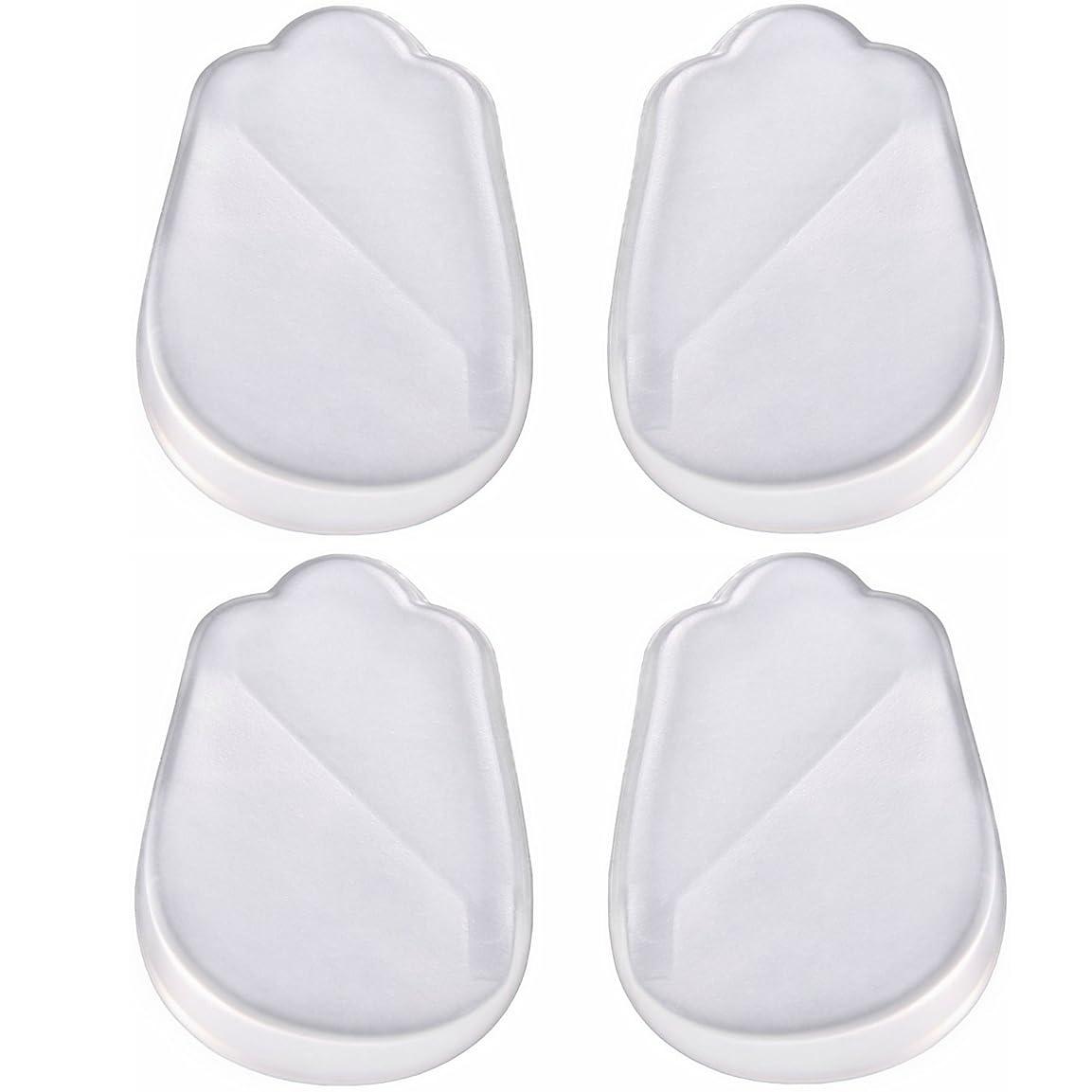 陽気な死傷者インレイX脚 O脚 用 かかと シリコン ゲル 素材 透明 クリアー インソール 靴 中敷 4枚 2足分 セット! 補正 シリコンパッドを 靴に 入れて 履くだけ? 高 衝撃 吸収力 耐久