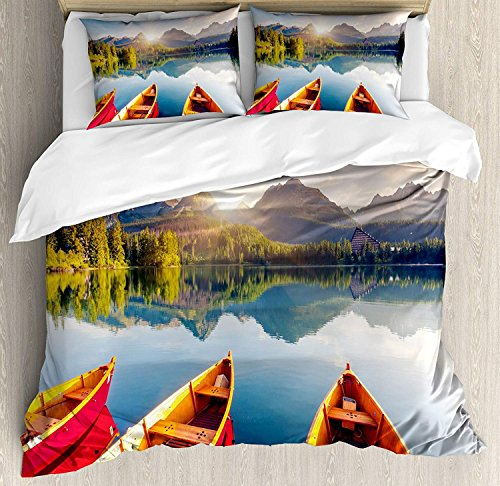 Yaoni Fishing Duvet Cover Set 3 Piece Microfiber Comforter Quilt Bed Bedding Covers with Zipper, Mountain Lake in National Park Slovakia Sailboats European Ecology Nature Print