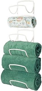 mDesign Modern Decorative Six Level Bathroom Towel Rack Holder & Organizer, Wall Mount - for Storage of Bath Towels, Washcloths, Hand Towels - Cream/Beige
