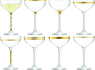 LSA DO04 Deco Champagne Saucer 7.9 fl oz/H6.5in Gold Assorted x 8