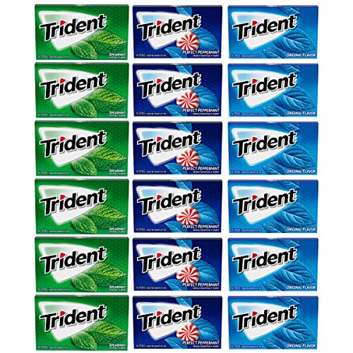 Trident Sugar Free Gum Variety Pack, Spearmint, Perfect Peppermint and Original Flavors, 18 Packs (252 Pieces Total)