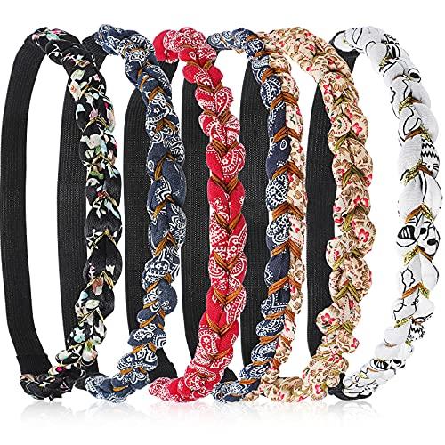 6 Pieces Braided Floral Headbands Adjustable Braid Flower Hairband Elastic Stretch Fabric Braided Head Bands Hair Accessory for Girls Women Hair Styling