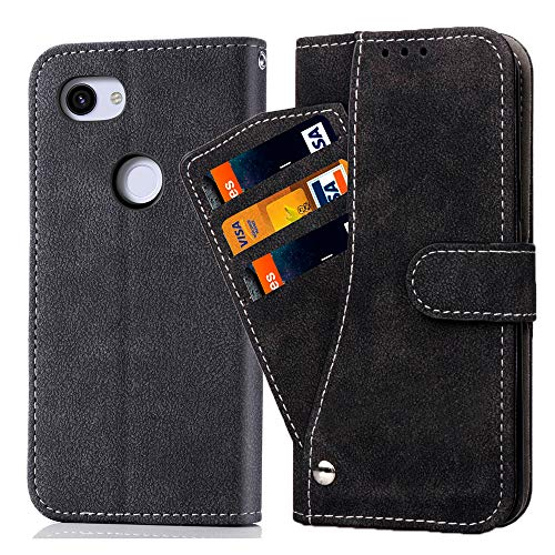 Asuwish Pixel 3A Wallet Case,Luxury Leather Phone Cases with Credit Card Holder Slot Stand Kickstand Shockproof Rugged Flip Folio Protective Cover for Google Pixel 3 A/A3 Women Men Girls Black