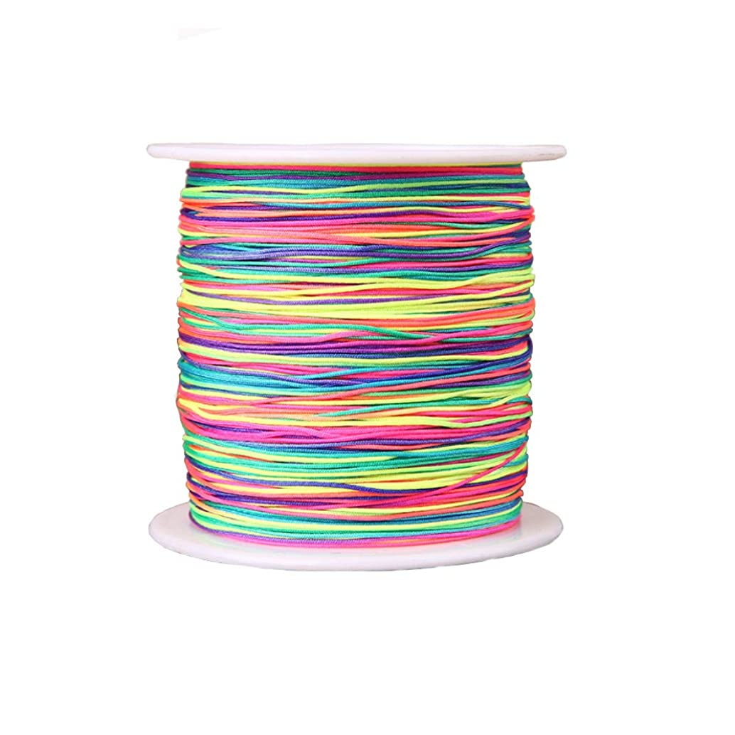Mystart 1 Roll 0.4mm Diameter 350m Length Chinese Knot Cords Beading Braided Threads Strings for Bracelet Necklace (Colored)