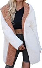 JOFOW Womens Faux Fur Jacket,Solid Turn Over Double-Sided Coats Fuzzy Winter Warm Padded Open Front Loose Fleece Coat