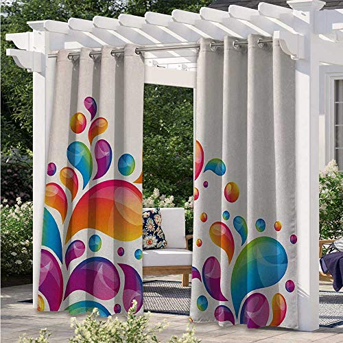Outdoor Curtain Cute Raindrops in Different Size in Gradient Colors Abstract Splash Style Design Porch Decor Privacy Curtain for Outdoor Porch Pergola Cabana Sun Room Deck Multicolor W84 x L84 Inch