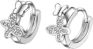 Summens, Orecchini a cerchio in argento sterling 925con farfalla e zircona, per donne e ragazze