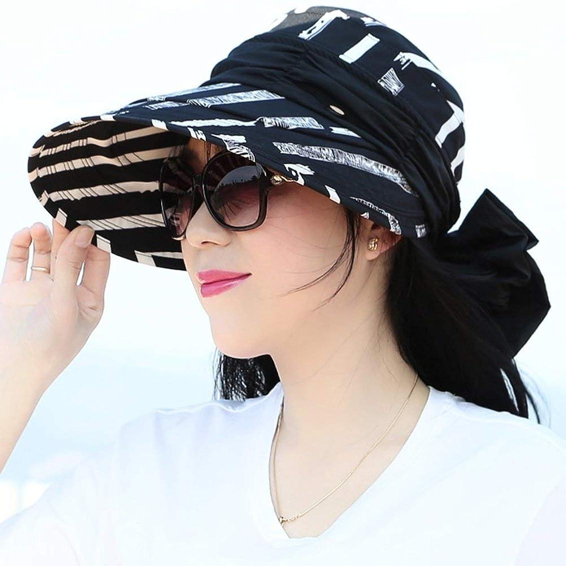 仮定成長する重量女性の広いつばの帽子の紫外線保護日曜日の帽子のバイザーの帽子の複数の身に着けている方法 (Color : Black)