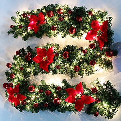 Iraza Ghirlanda di Natale Artificiali Ghirlanda Natalizie Decorazione con Luci, Palle e Fiori Finti Decorazioni per Porta e Caminetti di Scale (Rosso, 5M Stringa di Luce)