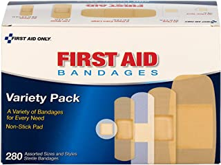 First Aid Only Sheer & Clear Bandage Variety Pack, Assorted Sizes, 280 Count