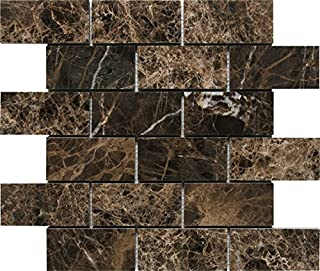 Dark Emperador Premium Spain Polished Marble Mosaic Tiles 1 Square Feet (2x4 INCH Mosaic)