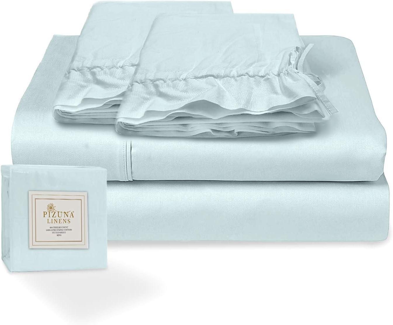 Pizuna Juego de sábanas algodón de 400 Hilos Azul Claro Cama 180cm, 100% algodón Tejido de satén Suave y Transpirable con 1 sábana Plana + 1 sábana Ajustable + 2 Cilíndrica Fundas de Almohada