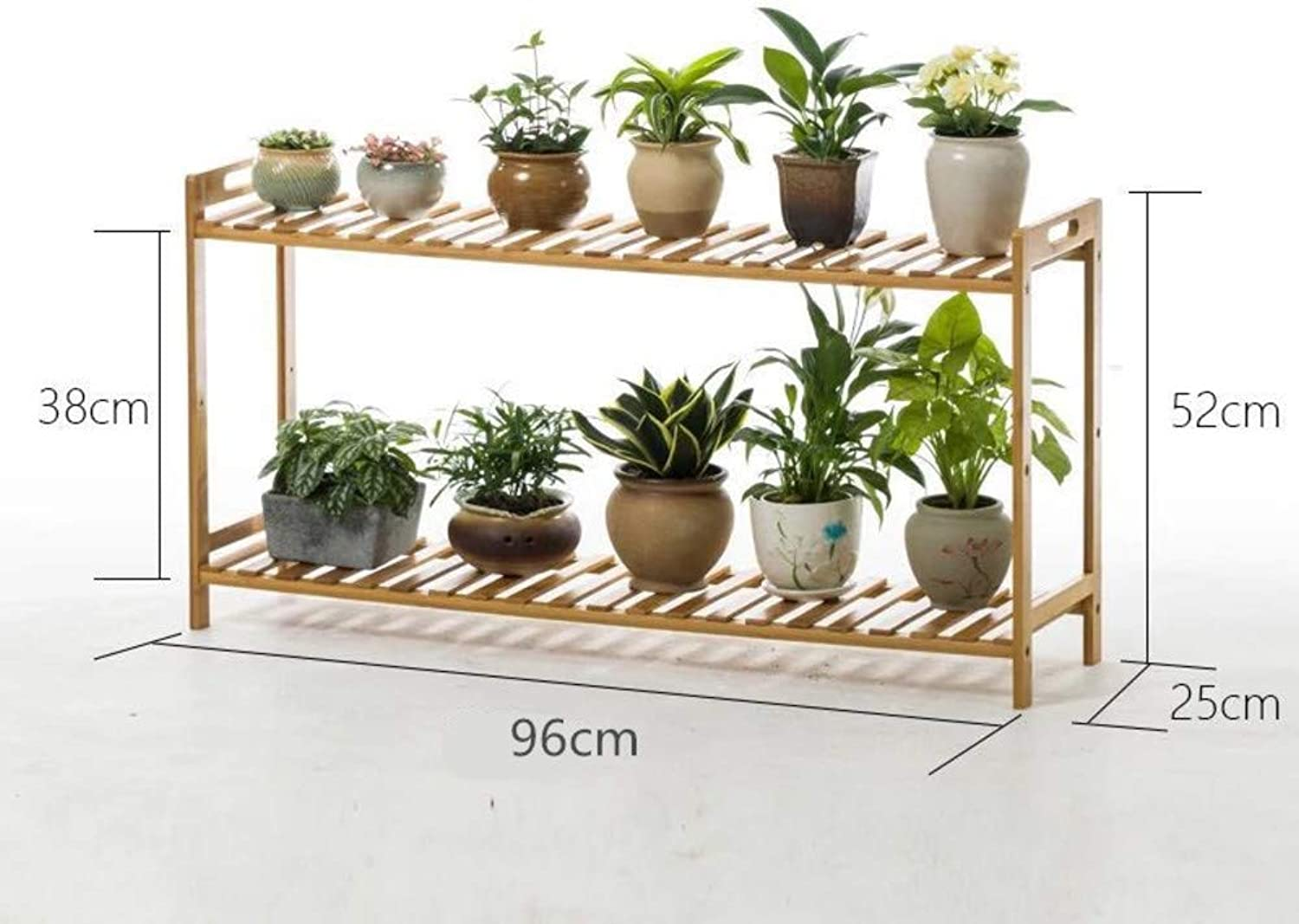 Multi-Layer Solid Wood Bamboo Flower Rack Plant Stand, Living Room Indoor Floor Folding Wood Shelves Bonsai Display Shelf-D