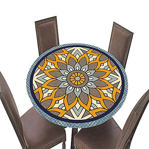 Fansu Tovaglia Rotonda Antimacchia Impermeabile con Bordo Elastico Adatto, 3D Mandala Stampa Poliestere Moderna Lavabile Copritavolo per la Decorazione della Casa Cucina (Arancia,Diametro 100 cm)