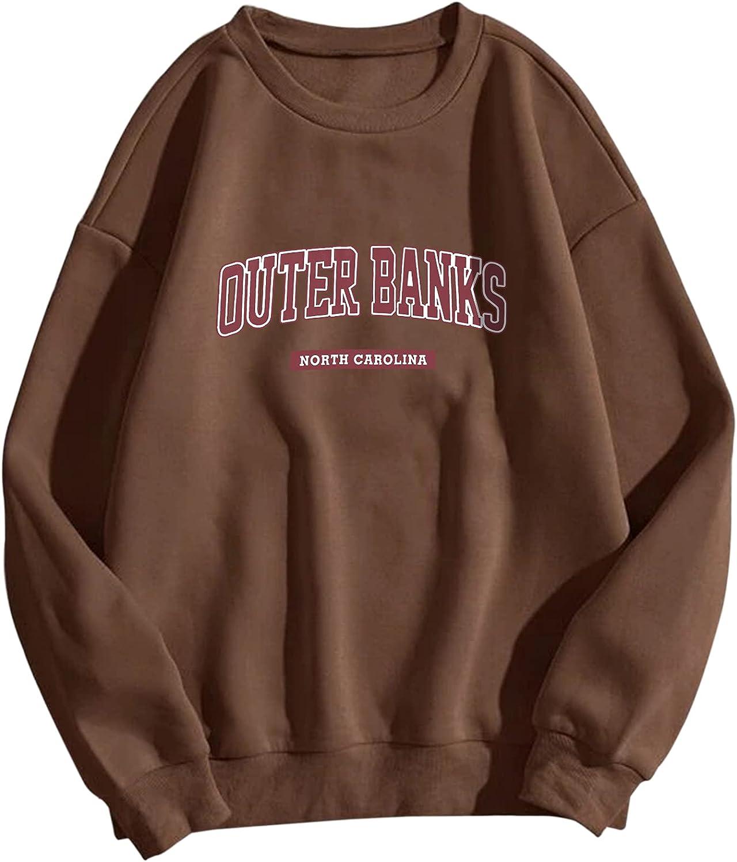 Meladyan Women Casual Outer Banks Letter Print Fleece Crewneck Sweatshirt Long Sleeve Oversized Pullover Tops