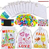12 Sets Mini Treat Bags 4x6 Canvas Drawstring Favor Bags Little Totes Gift Bags Goody Bags with Foam Stickers Paints Craft Kit for Kids Classroom Fabric Art Wedding Shower Decoration