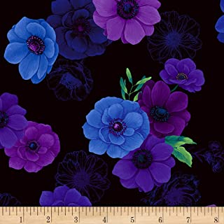 Timeless Treasures Digital Misty Allover Flowers Black Fabric Multi Fabric by the Yard