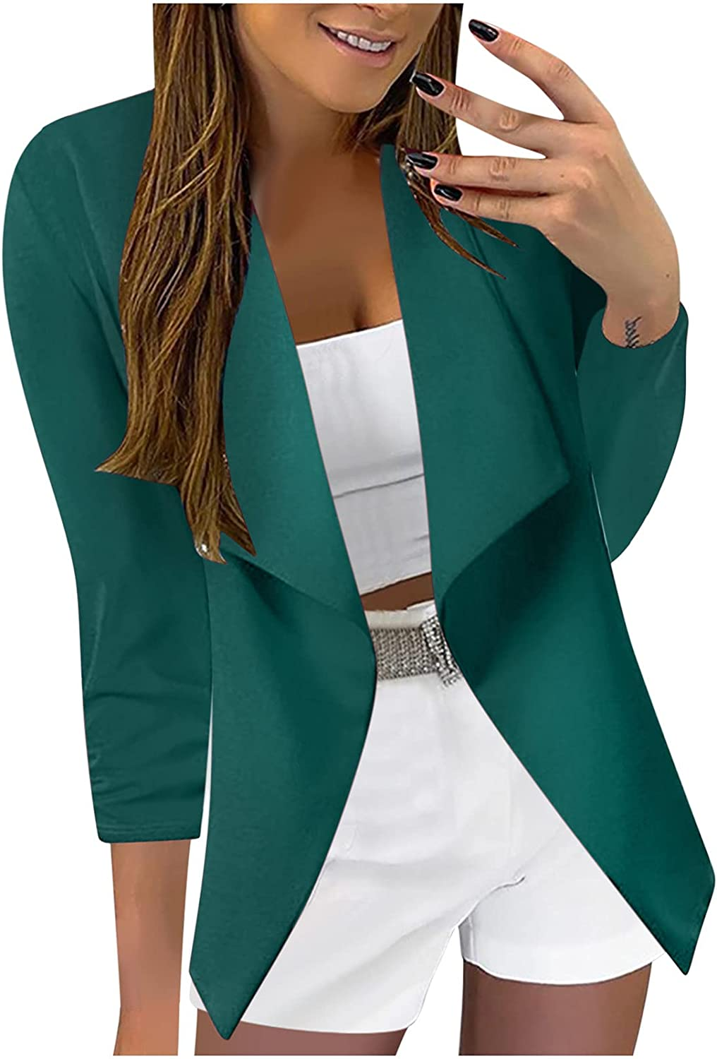 Womens Blazers for Work Casual Lightweight 3/4 Sleeve Cardigan Jackets Women Professional Work Clothes