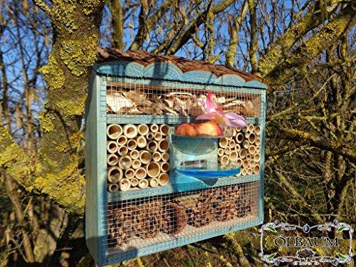 ÖLBAUM Süßes Insektenhotel, Insektenhaus als funktionale Gartendeko KOMPLETT mit Holzrinde-Naturdach und Fütterungsstation, FDV-Station-OS groß Holz blau Marineblau hell Vogelhaus Nisthaus