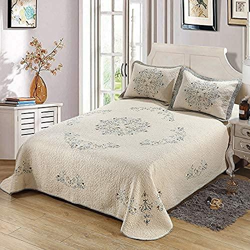 Colcha de colcha 100% algodón Edredón acolchado bordado de moda Fundas de almohada de 3 piezas Cobertor de cama Mantas multifunción lavables a máquina Sábanas, Beige-SuperKing: 300 * 290CM * 1 + 50 *