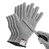 YINENN 2 Pairs ( 4 Gloves ) Cut Resistant Gloves Food Grade Level 5 Hand Protection,Kitchen Cut Gloves for Oyster Shucking,Fish Fillet Processing,Mandolin Slicing,Meat Cutting,Wood Carving-(Large)