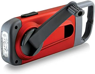 American Red Cross Clipray Crank-Powered, Clip-On Flashlight & Smartphone Charger, Red