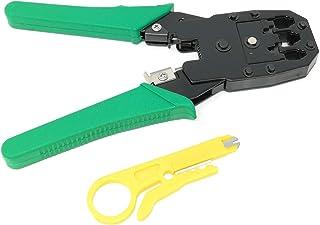 FLYFLY Crimpadora Pelacables para Cables RJ45 RJ11 Alicate Pelacables Crimpadora Autoajustable para Pelar//Cortar//Presionar el Cable
