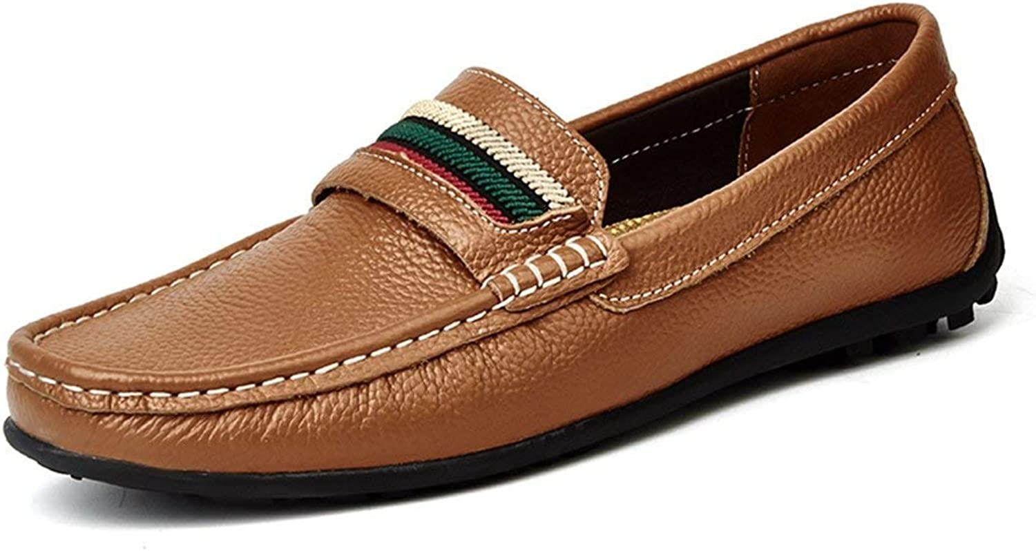 ZHRUI Boy's Men's colorful Stripe Stitched Brown Casual Penny Loafers UK 8.5 (color   -, Size   -)