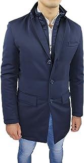 Giubbotto Giaccone Uomo Sartoriale Blu Invernale Slim Fit Giacca Soprabito Elegante