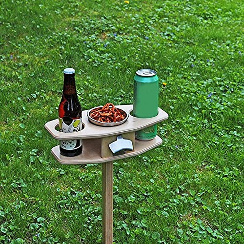 ZS ZHISHANG Picnic Table with Wine Holder Wooden Mini Picnic Table Folding Outdoor Wine Table, Portable Picnic Wine Table Stake Easy to Carry for Garden Beach Camping